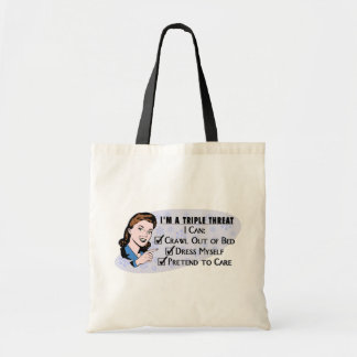 Funny Retro 50's Sarcastic Woman: Triple Threat Tote Bag