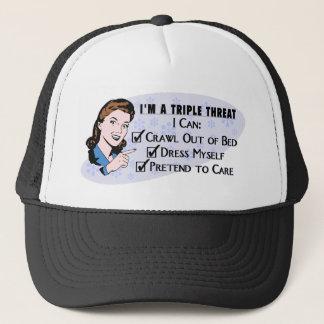 Funny Retro 50's Sarcastic Woman: Triple Threat Trucker Hat