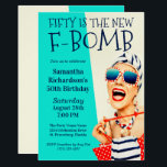 "Funny Retro 50th Birthday F-Bomb Invitation<br><div class=""desc"">A unique 50th Birthday Party Invitation for the ladies, this design features an outrageously stylish woman in striped sunglasses and hair turban with a polka dot bag and striped towel. The humor is carried out in the bold text title ""FIFTY IS THE NEW F-BOMB"". The retro color scheme of aqua,...</div>"