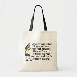 Funny Retro Best Foot Demotivational Tote Bag