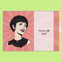 Funny Retro Birthday Card with Cartoon Lady