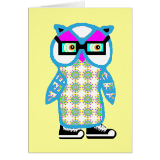 Funny Retro Blue Hipster Owl Blank Greeting Card