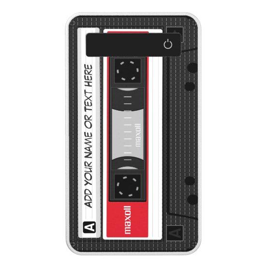 Funny Retro Cassette Mixtape Custom Name Text Power Bank