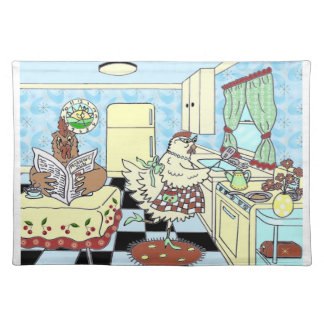 Funny retro chicken placemats