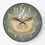 Funny Retro Coffee Time Custom Color Large Clock