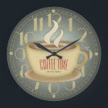 "Funny Retro Coffee Time Custom Color Large Clock<br><div class=""desc"">Coffee drinkers, let everyone know you need to top up your caffeine levels with this humorous retro style wall clock. Purchase as seen or edit the text template, go a step further and customize it to change the background color to suit your style, and you have created a truly unique...</div>"
