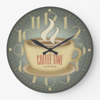 Funny Retro Coffee Time Custom Color Large Clock
