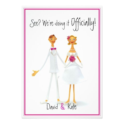 "Funny Retro Cute Humorous Wedding Invitation 5"" X 7"