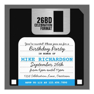Funny Retro Floppy Disc Party Invitation