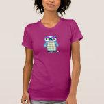 Funny Retro Hipster Blue Owl Raspberry T-shirt