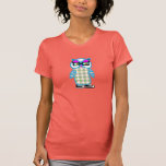 Funny Retro Hipster Blue Owl Women's Coral T-shirt