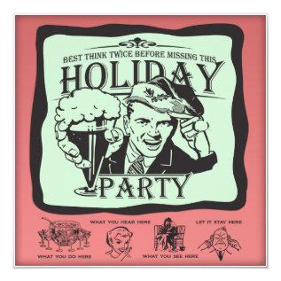 Funny Retro Holiday Party! Card at Zazzle