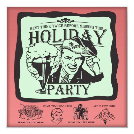 funny retro holiday party invitation zazzle com