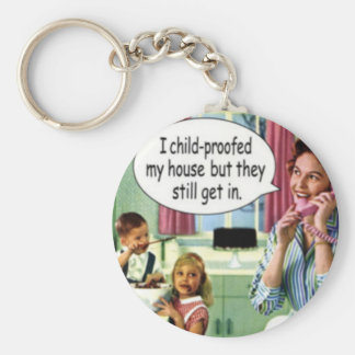 Funny Retro Housewife Keychain 1