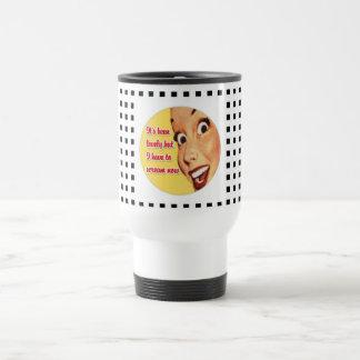 Funny Retro Housewife SCREAM Dotted Travel Mug