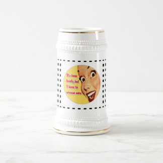 Funny Retro Housewife SCREAM Funky Beer Stein