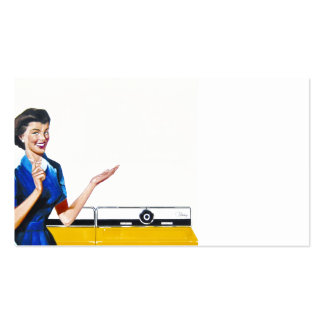 Funny Retro Housewife with Washing Machine Business Card