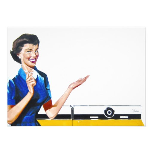 Funny Retro Housewife with Washing Machine Personalized Announcement