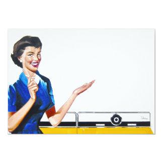 "Funny Retro Housewife with Washing Machine 5"" X 7"" Invitation Card"