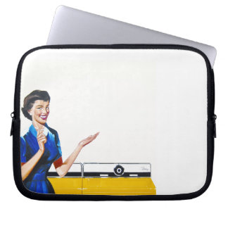 Funny Retro Housewife with Washing Machine Laptop Computer Sleeves