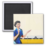 Funny Retro Housewife with Washing Machine Magnet
