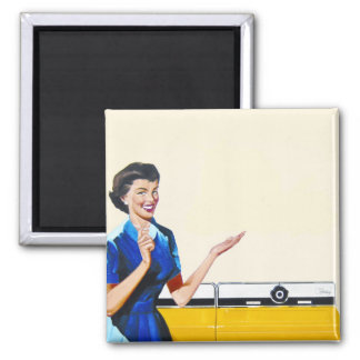 Funny Retro Housewife with Washing Machine 2 Inch Square Magnet