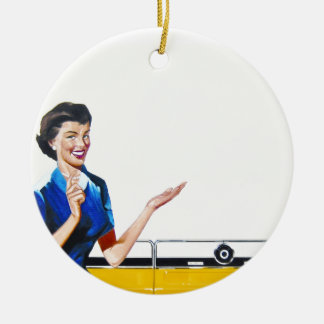 Funny Retro Housewife with Washing Machine Ornament