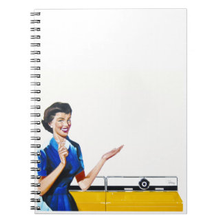Funny Retro Housewife with Washing Machine Spiral Note Book
