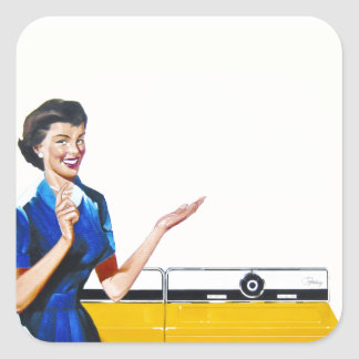 Funny Retro Housewife with Washing Machine Stickers
