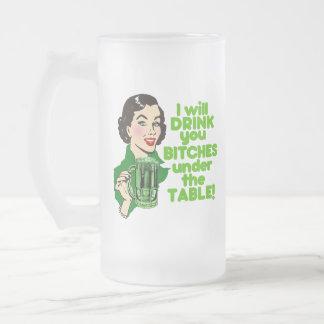 Funny Retro Irish Beer Humor Frosted Glass Beer Mug