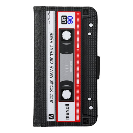 Funny Retro Music Cassette Tape Wallet Phone Case For Samsung Galaxy S6