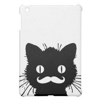 FUNNY RETRO MUSTACHE ON BLACK KITTY iPad MINI CASE