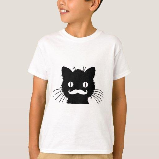 Zazzle FUNNY RETRO MUSTACHE ON BLACK KITTY T-shirt