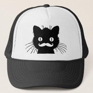 FUNNY RETRO MUSTACHE ON BLACK KITTY TRUCKER HAT