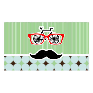 Funny Retro Mustache; Sage Green & Brown Business Card Templates