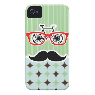 Funny Retro Mustache; Sage Green & Brown Case-Mate iPhone 4 Cases
