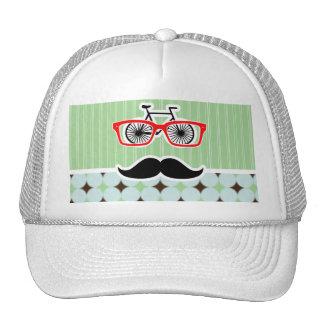 Funny Retro Mustache; Sage Green & Brown Mesh Hats