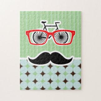 Funny Retro Mustache; Sage Green & Brown Jigsaw Puzzle