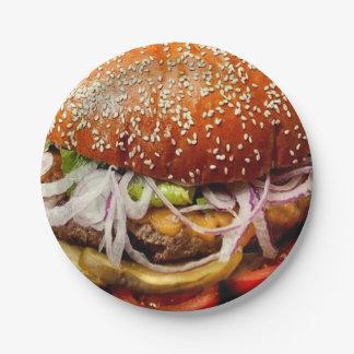 funny retro novelty gift fast food hamburger paper plate