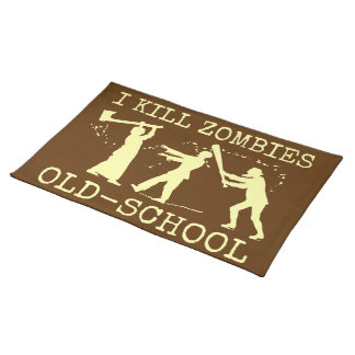 Funny Retro Old School Zombie Killer Hunter Cloth Placemat