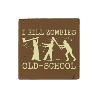 Funny Retro Old School Zombie Killer Hunter Stone Magnet