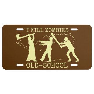 Funny Retro Old School Zombie Killer Hunter License Plate