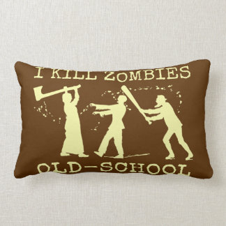 Funny Retro Old School Zombie Killer Hunter Lumbar Pillow