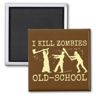 Funny Retro Old School Zombie Killer Hunter 2 Inch Square Magnet