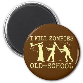 Funny Retro Old School Zombie Killer Hunter 2 Inch Round Magnet