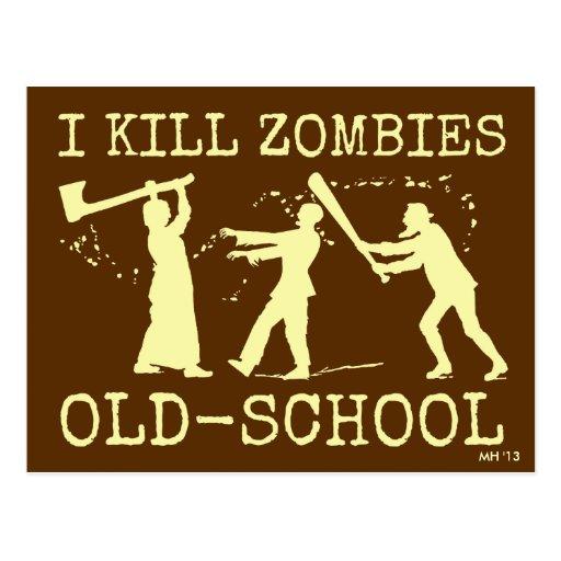 Funny Retro Old School Zombie Killer Hunter Postcards