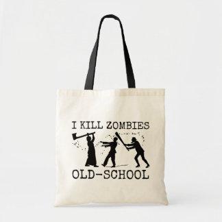 Funny Retro Old School Zombie Killer Hunter Tote Bag