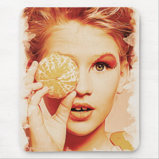 Funny Retro Painting Orange Beauty Girl Mouse Pad
