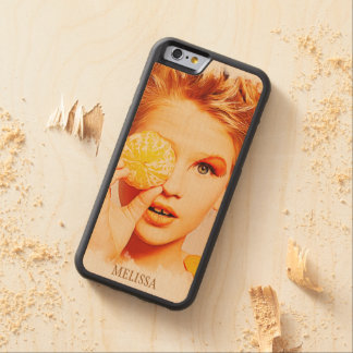 Funny Retro Painting Orange Women with Custom Name Carved® Maple iPhone 6 Bumper Case