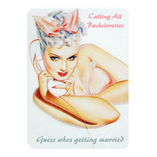 Funny retro phone call wedding gossip card